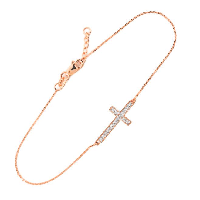 14K Rose Gold Sideways Cross Cute CZ Bracelet