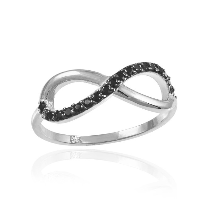 Black Diamond Infinity Ring in White Gold.