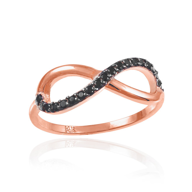 Black CZ Infinity Ring in Rose Gold.