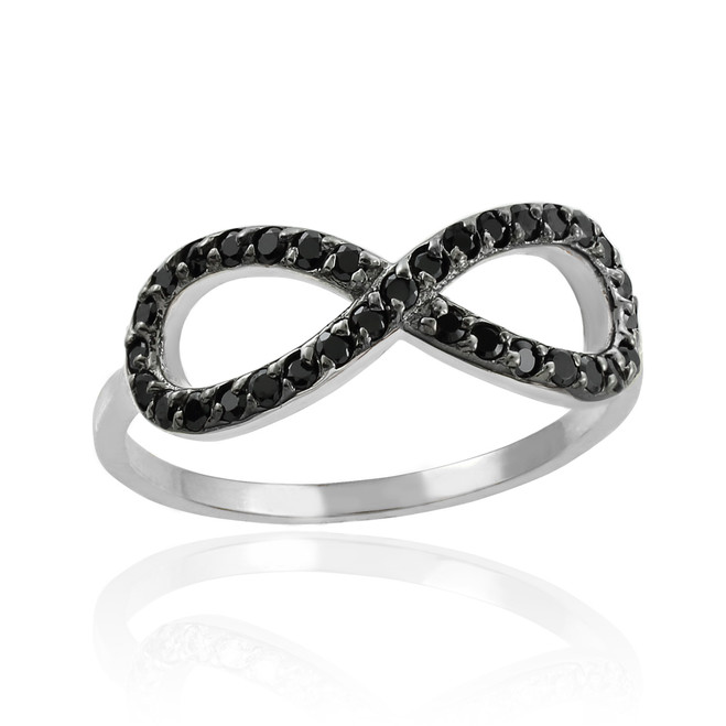 Black cz infinity ring in sterling silver.