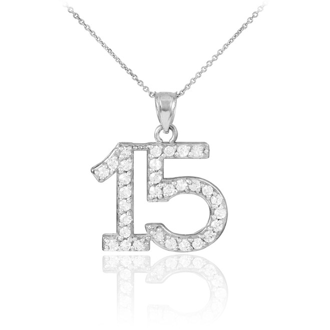 Quinceanera 15 Anos Pendant Necklace with diamonds in 14k white gold.