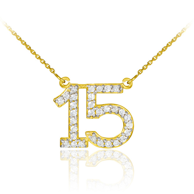 15 Anos Quinceanera Necklace with cz in 14k yellow gold.