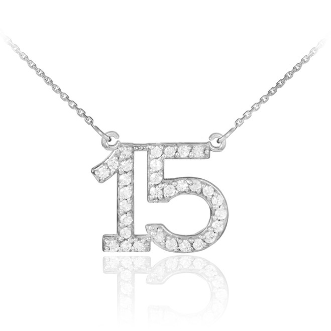 15 Anos Quinceanera Necklace with cz in 14k white gold.