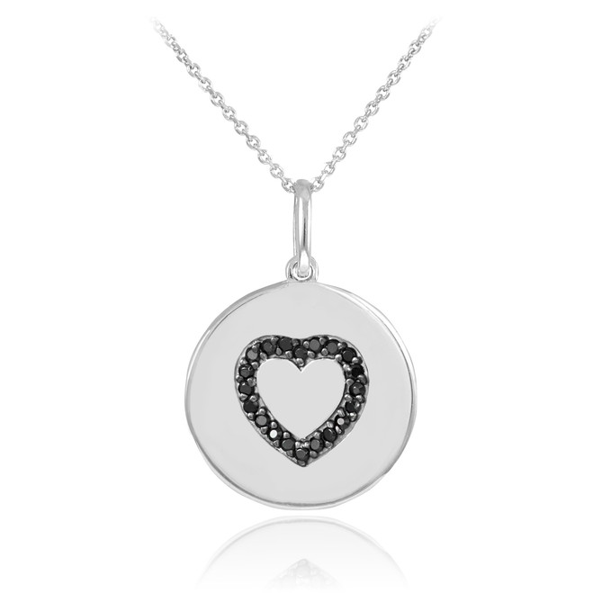 Heart disc pendant necklace with black diamonds in 14k white gold.