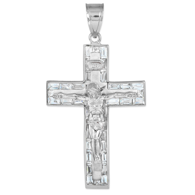 White gold mens crucifix pendant with cz.