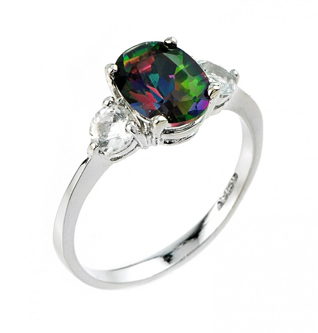 Ladies white and mystic topaz gemstone ring in 10k or 14k white gold.