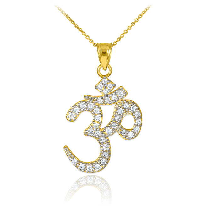 CZ Ohm/Om pendant necklace in 14k yellow gold.