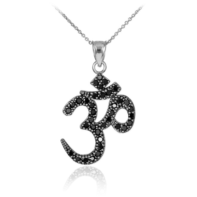 Black cz ohm/om pendant necklace in 14k white gold.