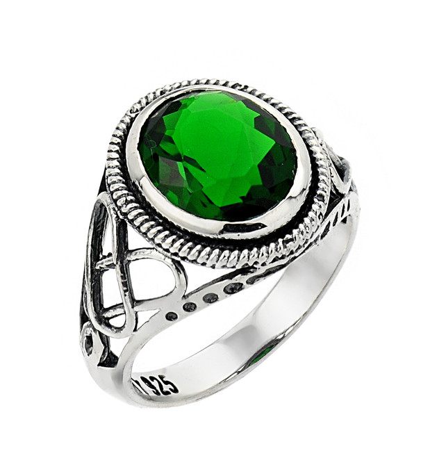 10k or 14k white gold ladies trinity knot ring with emerald.