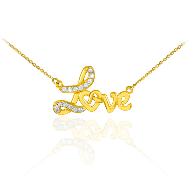 Love heart necklace with diamonds in 14k yellow gold.