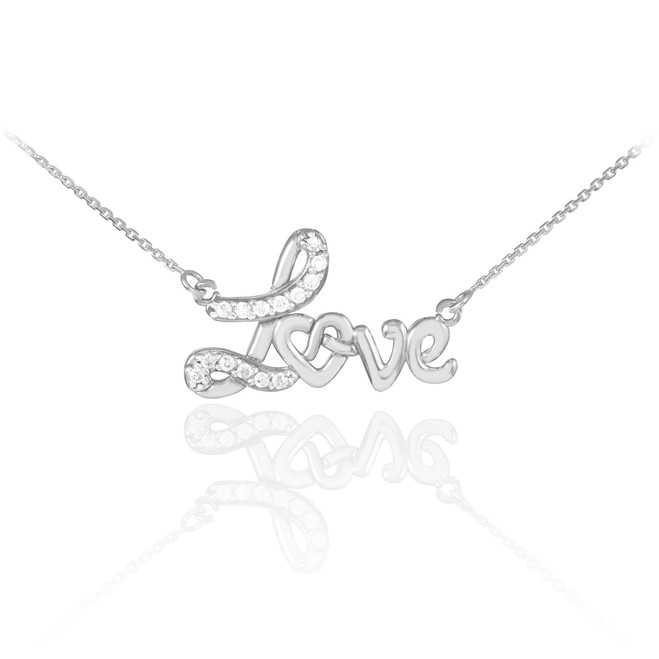 Love heart necklace with diamonds in 14k white gold.