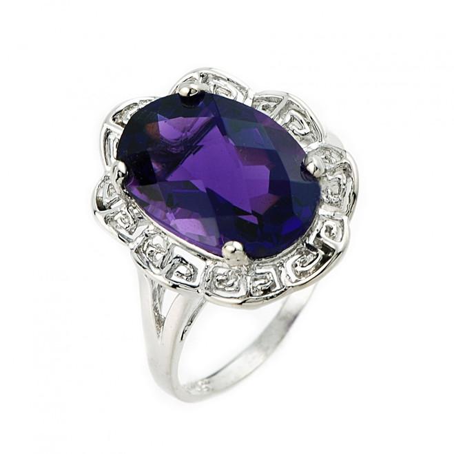 10k or 14k White gold Greek key ring with amethyst gemstone.