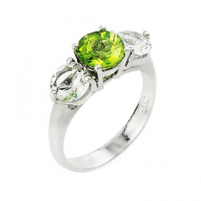 Peridot and white topaz gemstone ladies ring in 925 sterling silver.