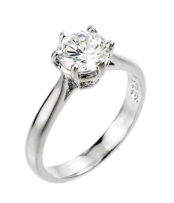 2 ct CZ (8 mm round) solitaire engagement ring in 925 sterling silver.