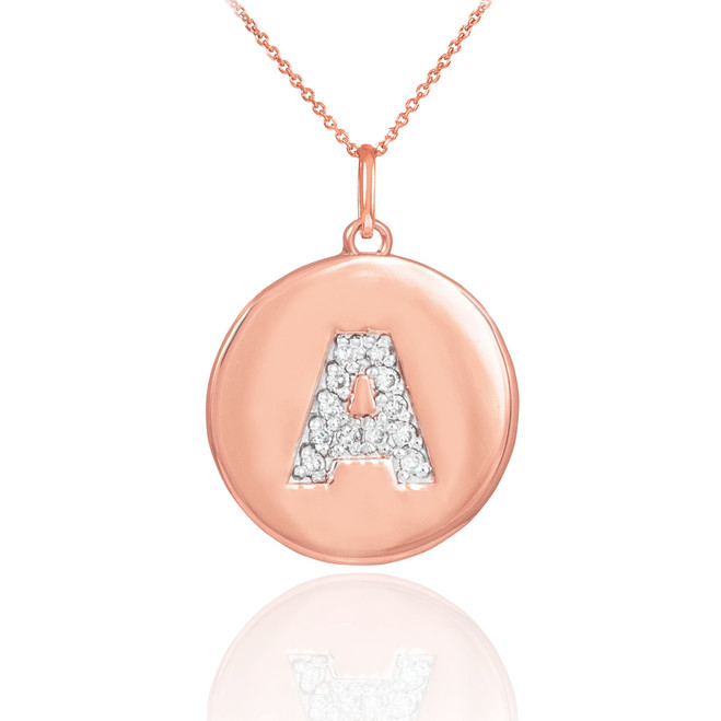"""Letter """"A"""" disc pendant necklace with diamonds in 14k rose gold."""