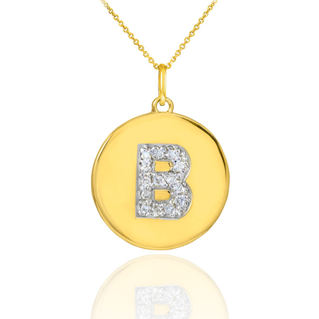 "Letter ""B"" disc pendant necklace with diamonds in 10k or 14k yellow gold."
