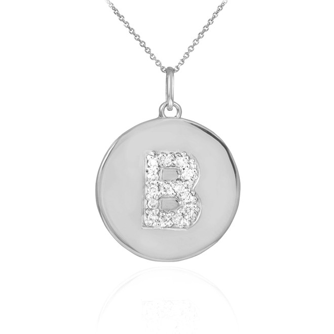 """Letter """"B"""" disc pendant necklace with diamonds in 10k or 14k white gold."""