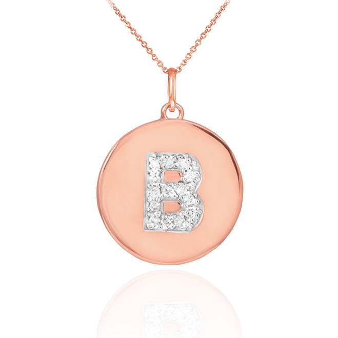 "Letter ""B"" disc pendant necklace with diamonds in 14k rose gold."