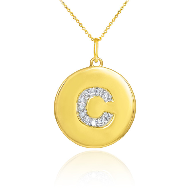 "Letter ""C"" disc pendant necklace with diamonds in 10k or 14k yellow gold."