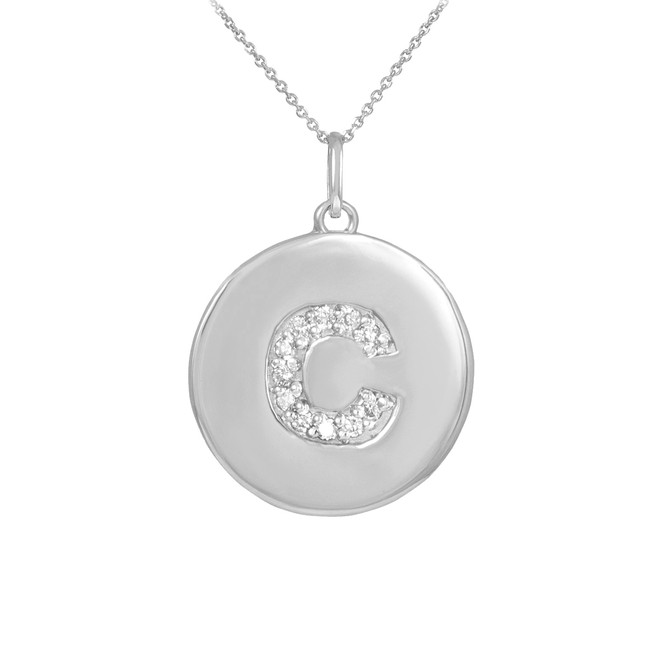 """Letter """"C"""" disc pendant necklace with diamonds in 10k or 14k white gold."""