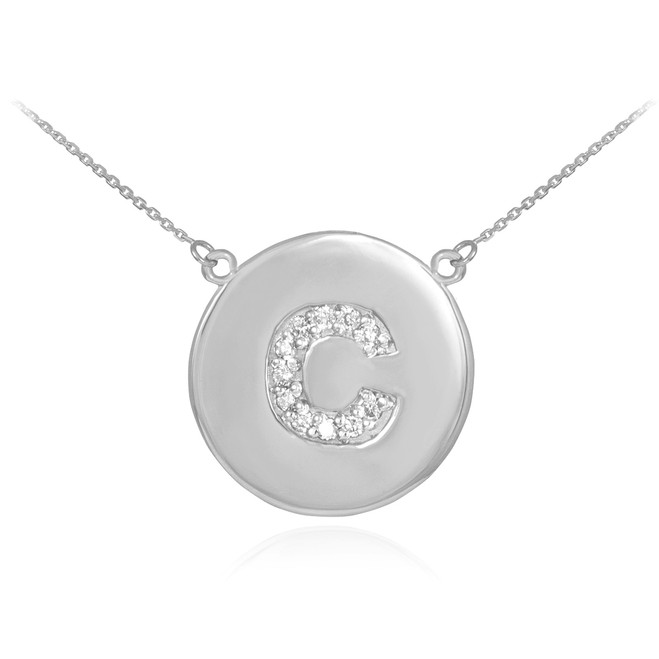 "Letter ""C"" disc necklace with diamonds in 14k white gold."