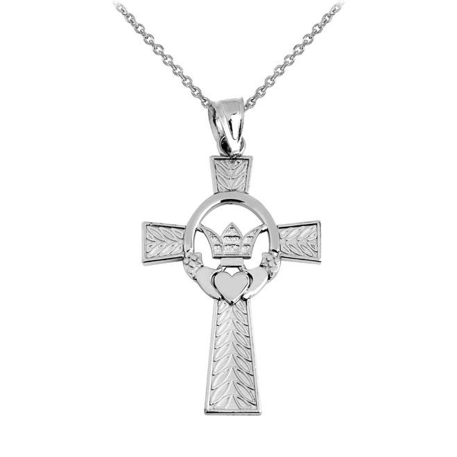 White Gold Claddagh Irish Cross Pendant Necklace