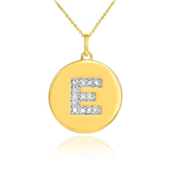 """Letter """"E"""" disc pendant necklace with diamonds in 10k or 14k yellow gold."""