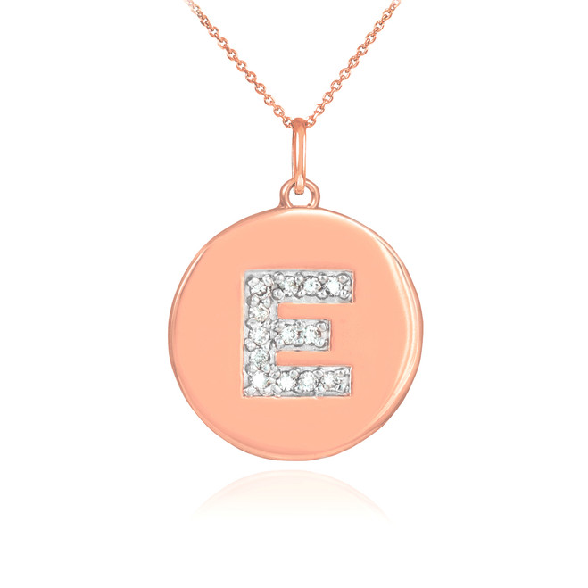"Letter ""E"" disc pendant necklace with diamonds in 14k rose gold."