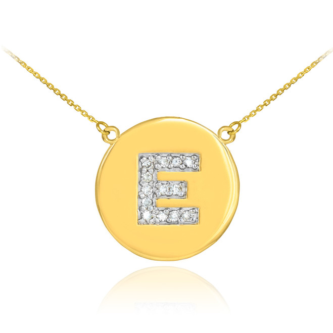 "Letter ""E"" disc necklace with diamonds in 14k yellow gold."