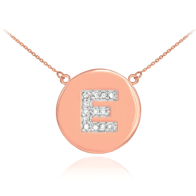 "Letter ""E"" disc necklace with diamonds in 14k rose gold."