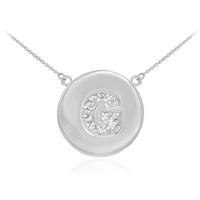 "Letter ""G"" disc necklace with diamonds in 14k white gold."