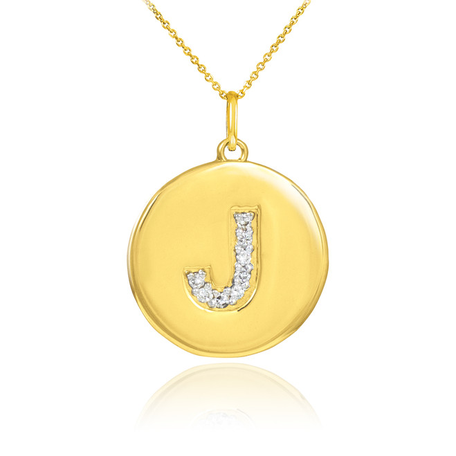 "Letter ""J"" disc pendant necklace with diamonds in 10k or 14k yellow gold."