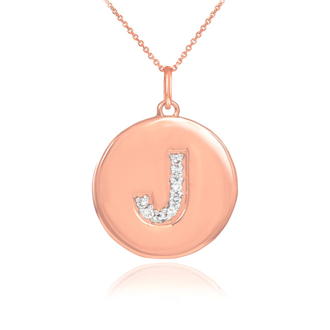 """Letter """"J"""" disc pendant necklace with diamonds in 14k rose gold."""