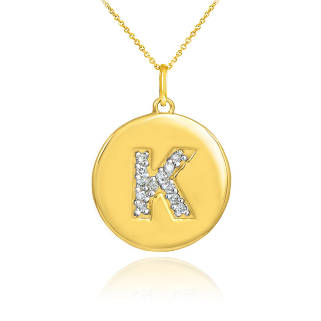 "Letter ""K"" disc pendant necklace with diamonds in 10k or 14k yellow gold."