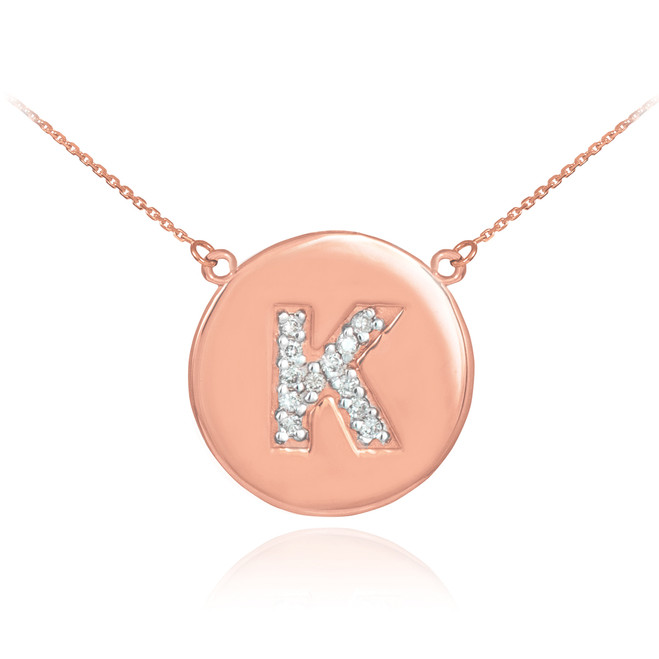 "Letter ""K"" disc necklace with diamonds in 14k rose gold."