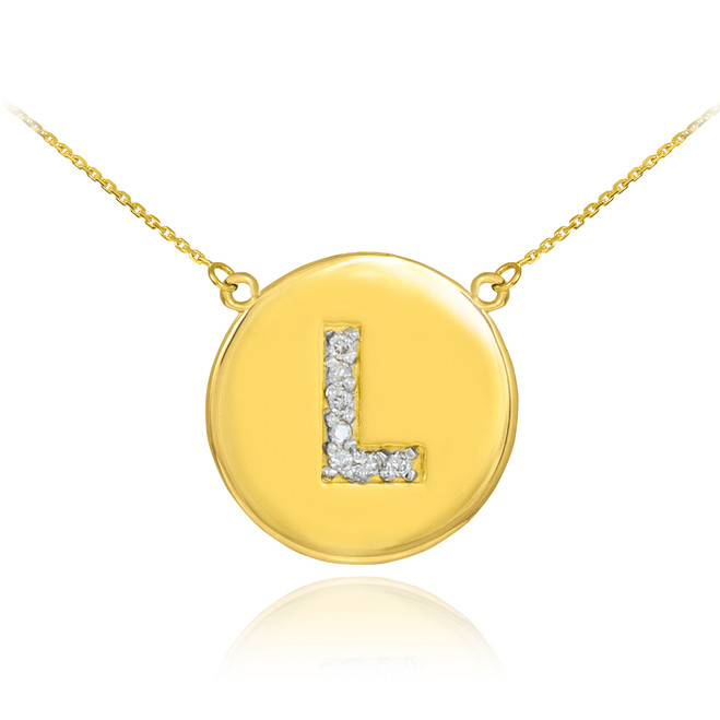 "Letter ""L"" disc necklace with diamonds in 14k yellow gold."