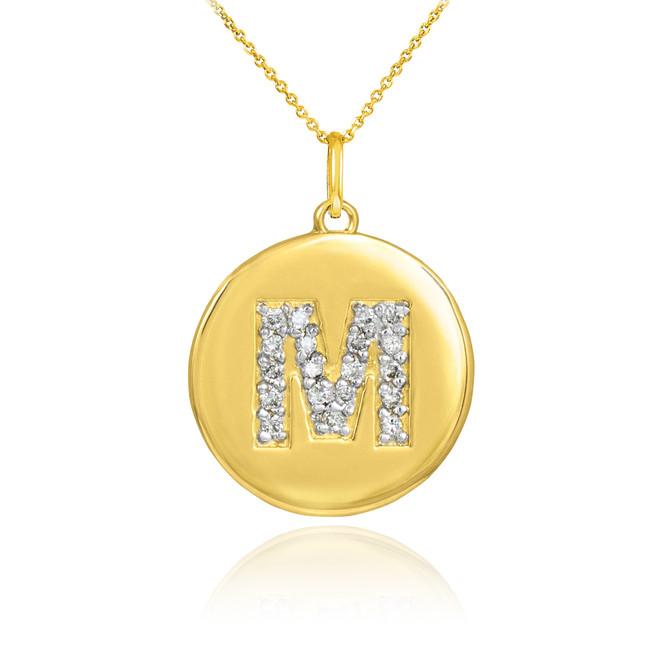 """Gold Letter """"M"""" Initial Diamond Disc Pendant Necklace"""