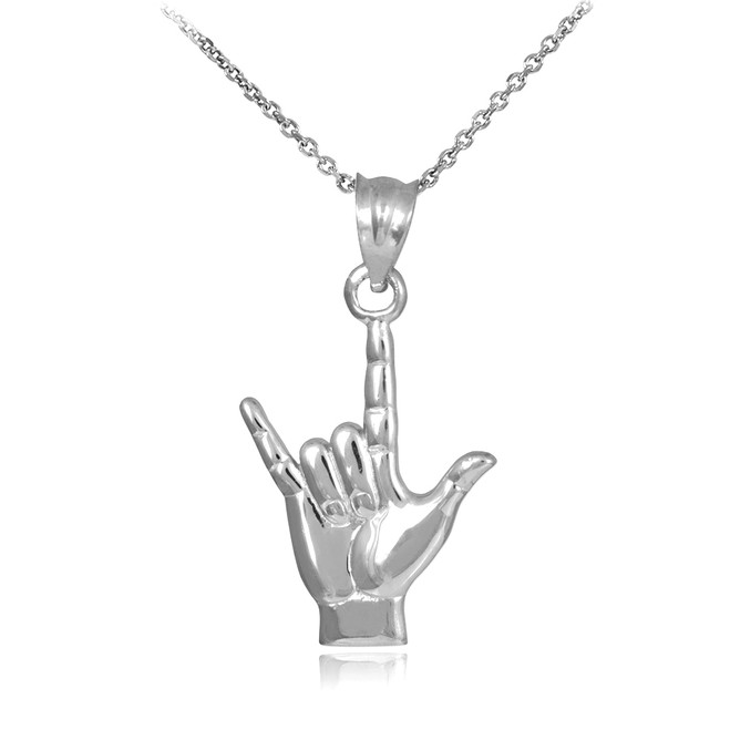 """White Gold """"Hang Loose"""" Charm Pendant Necklace"""