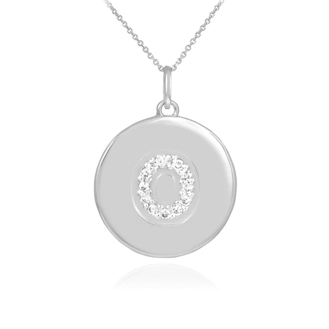 """White Gold Letter """"O"""" Initial Diamond Disc Pendant Necklace"""