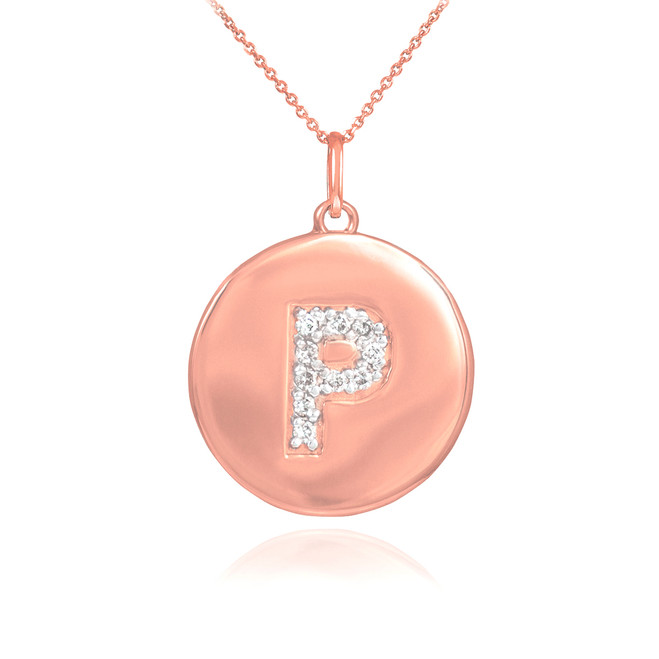 "14k Rose Gold Letter ""P"" Initial Diamond Disc Pendant Necklace"