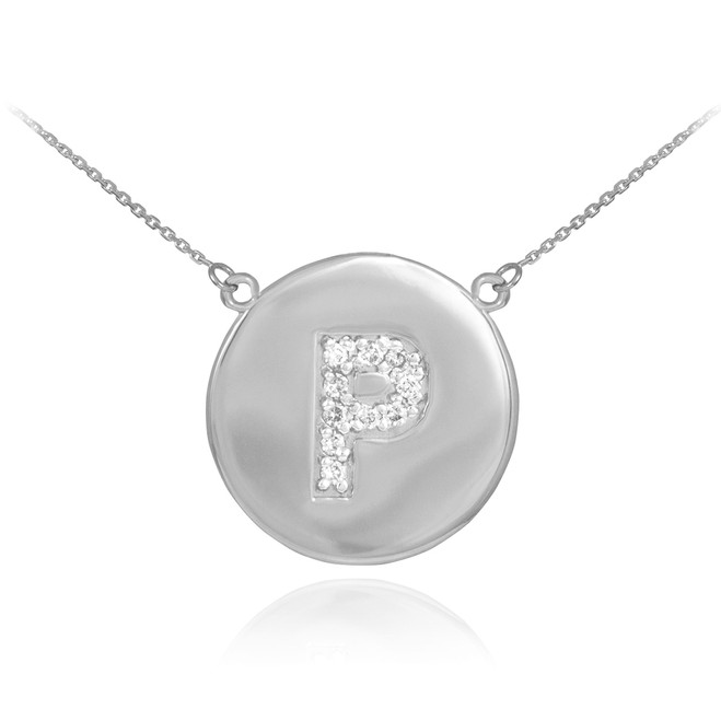 "14k White Gold Letter ""P"" Initial Diamond Disc Necklace"
