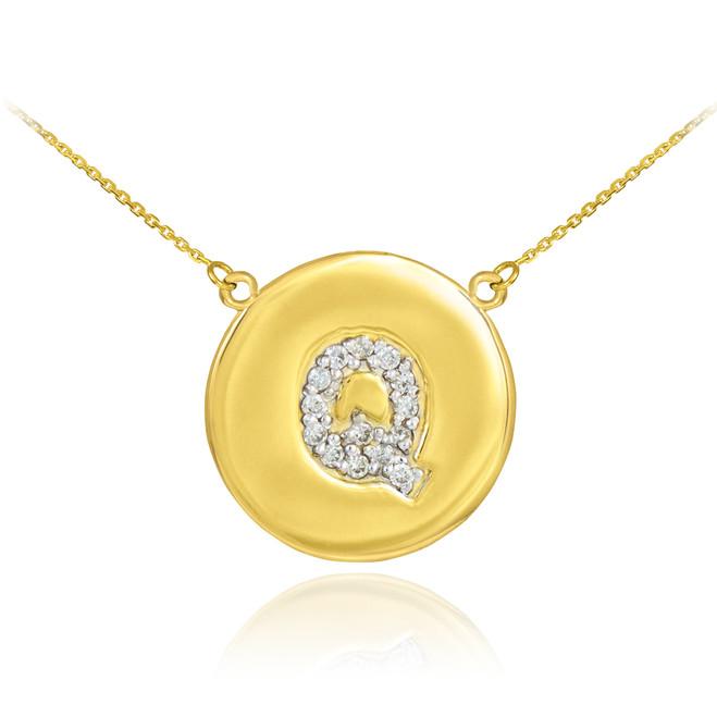"14k Gold Letter ""Q"" Initial Diamond Disc Necklace"