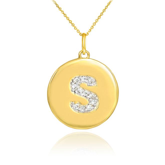 "Letter ""S"" Diamond Initial Pendant Necklace"