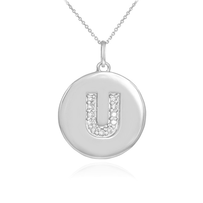 "White Gold Letter ""U"" Initial Diamond Disc Pendant Necklace"