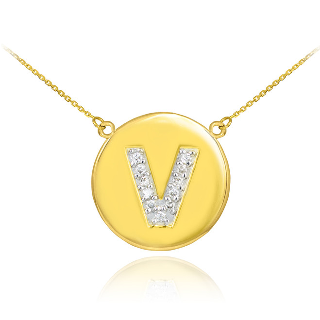 "14k Gold Letter ""V"" Initial Diamond Disc Necklace"