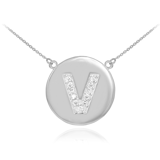 "14k White Gold Letter ""V"" Initial Diamond Disc Necklace"