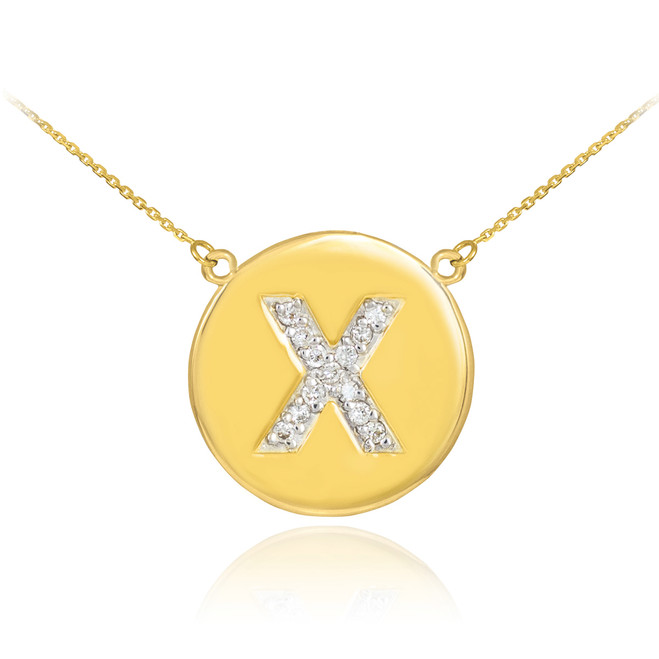 "14k Gold Letter ""X"" Initial Diamond Disc Necklace"