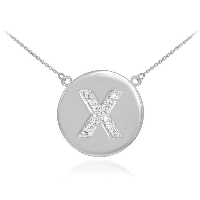 """14k White Gold Letter """"X"""" Initial Diamond Disc Necklace"""