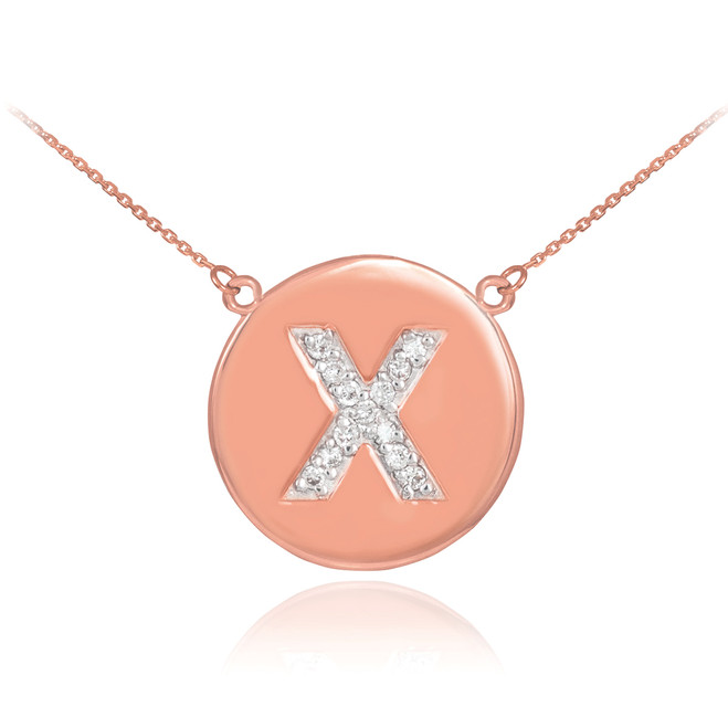 """14k Rose Gold Letter """"X"""" Initial Diamond Disc Necklace"""