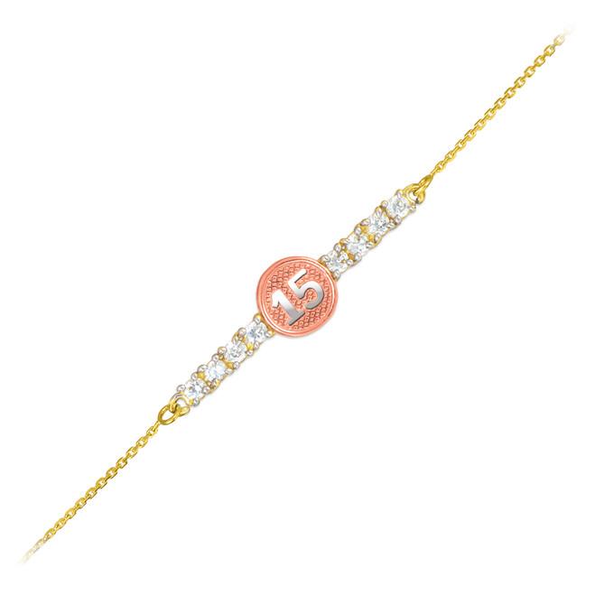 15-Anos Quinceanera Tri-Tone 14k Gold CZ Bar Bracelet